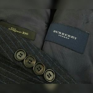 BURBERRY Super 100s Wool Blue Striped Flannel Suit